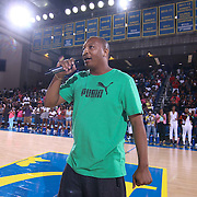 Allen Duffy Samuels of Duffy Hope addresses the crowd  prior to The 2015 Duffy's Hope Celebrity Basketball Game Saturday, August 01, 2015, at The Bob Carpenter Sports Convocation Center, in Newark, DEL.    <br /> <br /> Proceeds will benefit The Non-Profit Organization Duffy's Hope Youth Programming.