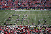 "COLUMBUS, OH - OCTOBER 21:  The Ohio State University Marching Band performs ""Script Ohio"" during pre-game before Buckeyes play the Indiana Hoosiers on October 7, 2006 at Ohio  Stadium in Columbus, Ohio.  Ohio State beat the Hoosiers 44-3. Credit: Bryan Rinnert"