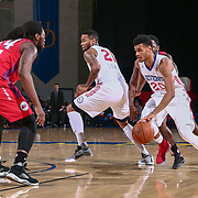 Delaware 87ers Forward TIMOTHE<br /> LUWAWU-CABARROT (20) drives towards the lane as Grand Rapids Drive Guard CHRIS ANDERSON (24) defends in the first half of a NBA D-league regular season basketball game between the Delaware 87ers and the Grand Rapids Drive (Detroit Pistons) Tuesday. Nov. 29, 2016 at The Bob Carpenter Sports Convocation Center in Newark, DEL.
