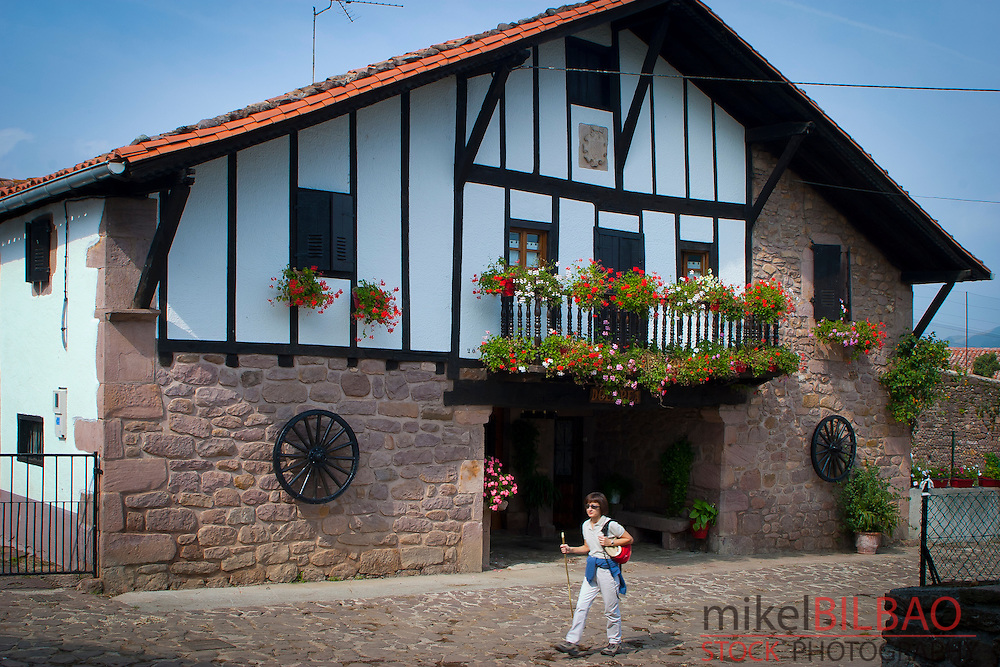 """Traditional house or """"caserio"""". Erratzu village. Baztan valley, Navarre, Spain"""
