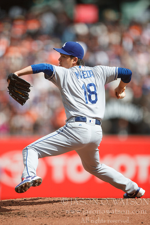 SAN FRANCISCO, CA - OCTOBER 02: Kenta Maeda #18 of the Los Angeles Dodgers pitches against the San Francisco Giants during the second inning at AT&T Park on October 2, 2016 in San Francisco, California. The San Francisco Giants defeated the Los Angeles Dodgers 7-1. (Photo by Jason O. Watson/Getty Images) *** Local Caption *** Kenta Maeda