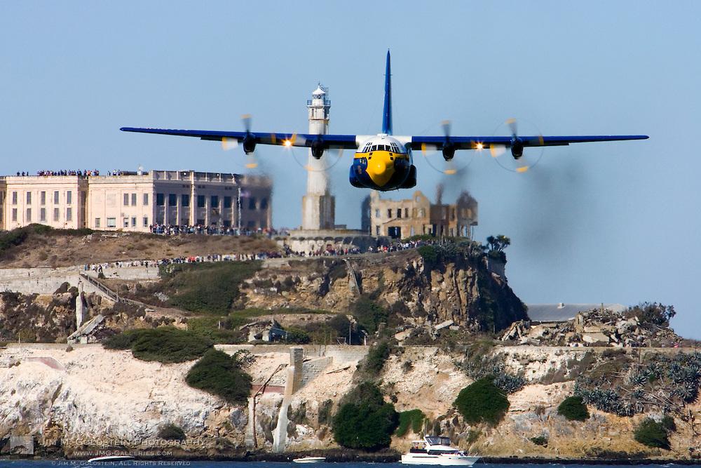 "The Blue Angels ""Fat Albert"" C-130 flys over Alcatraz during the 2007 Fleet Week performance in San Francisco"