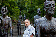 "Czech writer and historian Ludek Navara photographed at the ""Memorial to the Victims of Communism"" created by sculptor Olbram Zoubek in Prague. ----------------------------                               Schriftsteller und Historiker Ludek Navara am ""Denkmal für die Opfer des Kommunismus"" von Bildhauer Olbram Zoubek in Prag."