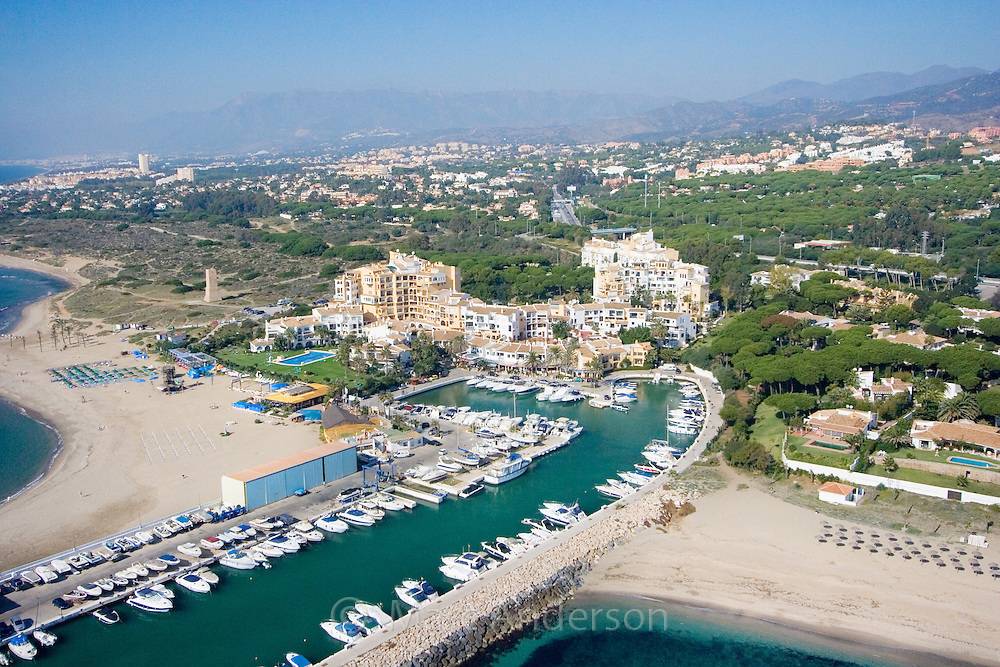 Aerial view of Puerto Cabopino on the Costa del Sol, Marbella, Spain