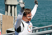 1 August 2015: Special Olympic World Games Los Angeles Sailing Finals in Long Beach, California. Team USA sailor Giannis Stratigopoulos (Hellenic Team) rises up and celebrates after the last race of the day in Long Beach, CA.
