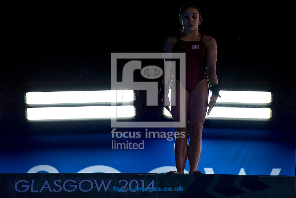 Victoria Vincent of England about to make a dive pictured during the Women's 10 Metre Platform Final on Diving Day Two at Royal Commonwealth Pool during Glasgow 2014 Commonwealth Games <br /> Picture by Ian Wadkins/Focus Images Ltd +44 7877 568959<br /> 31/07/2014