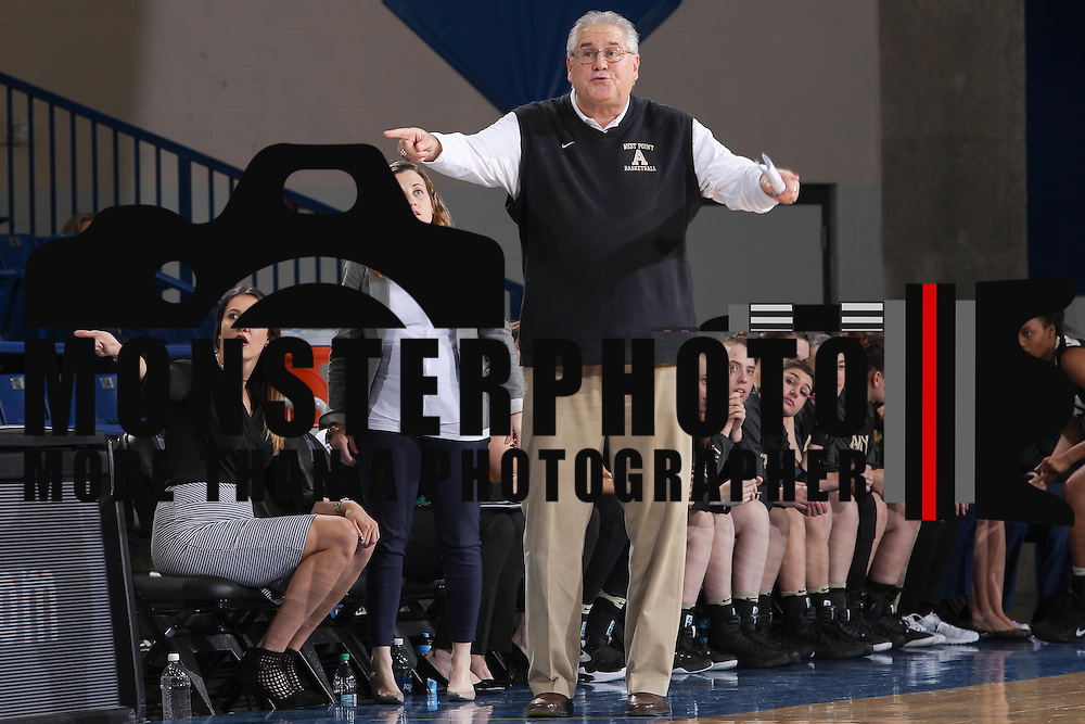 Army West Point Women's Head Coach Dave Magarity directs his team during a regular-season non conference game between Delaware and Army West Point Sunday, Dec. 11, 2016, at the Bob Carpenter Center in Newark Delaware.