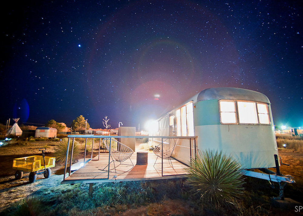 Trailer home IV at El Cosmico trailer park hotel, Marfa TX