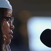 John Dickinson student speaker Milly Malvelis Bra-Lorenzo addresses students and family during Dickinson 55th commencement exercises Saturday, June 06, 2015, at The Bob Carpenter Sports Convocation Center in Newark, Delaware.