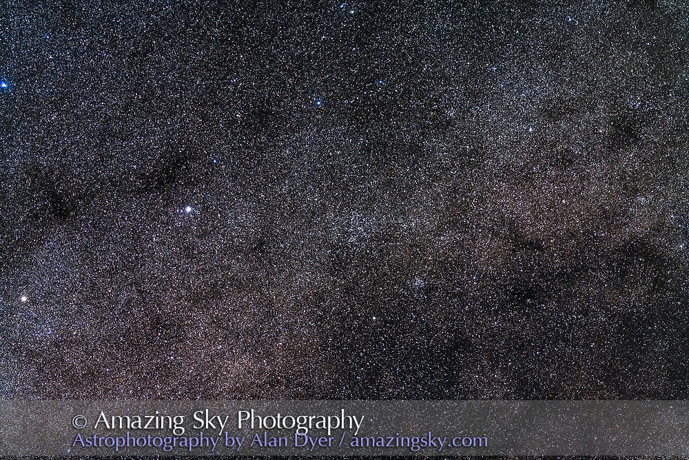 NGC 5822, a rich large star cluster in Lupus, at centre, but here partly lost amid the background starfield. NGC 5822 is a fine sight in a low-power telescope. Below and to the right is the smaller cluster NGC 5823. At bottom is the rich cluster NGC 5925. The brightest star is Zeta Lupi. <br /> <br /> The field simulates a binocular field <br /> <br /> This is a stack of 5 x 2-minute exposures with the 200mm lens at f/2.8 and Canon 5D MkII at ISO 1600. Taken from Tibuc Gardens, Australia.