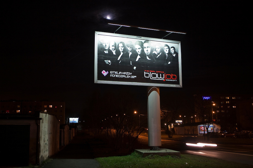 """Large advertisement for a Polish television show called """"Blowjob"""", Katowice, Poland."""