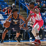 Salt Lake City Stars Guard TYRONE WALLACE (5) drives past defender Delaware 87ers Guard DERRICK BYARS (14) in the second half of an NBA D-league regular season game between the Delaware 87ers and the Salt Lake City Stars (Utah Jazz) Friday, March 17, 2017 at The Bob Carpenter Sports Convocation Center in Newark, DEL