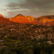 Panorama of sunset on red rock hills at Sedona, Arizona.