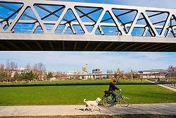 View of Gleisdreieck Park in Berlin, Germany