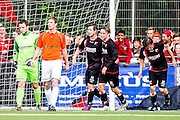 DEN HAAG - HBS - MSC , Sportpark Craeyenhout , Voetbal , Promotie/degradatie topklasse , seizoen 2014/2105 , 28-05-2015 , HBS spelers vieren het 2e doelpunt