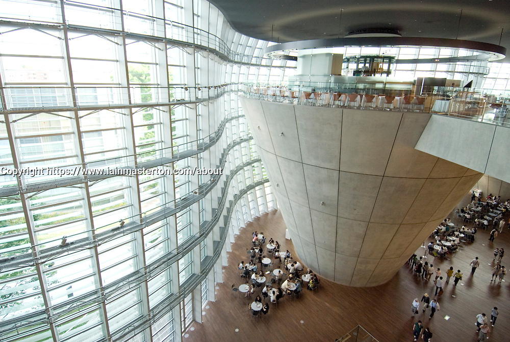 Interior of spectacular new Tokyo National Arts Centre in Tokyo Modern architecture at Tokyo National Art Center in Roppongi in central Tokyo