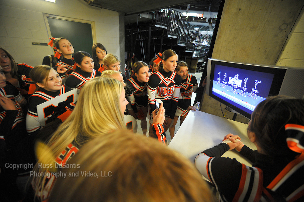 Barnegat cheerleading team at the 19th annual NJ state cheerleading championship at the Sun Center in Trenton on 3/6/11.