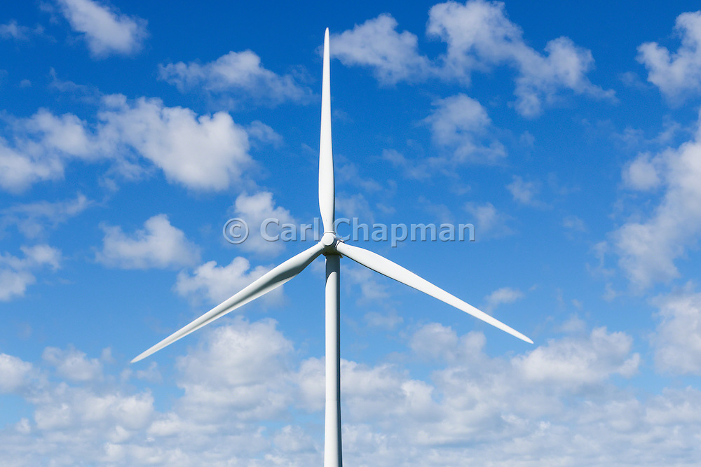 wind turbine against spotted clouds at the Mount Mercer wind farm, Victoria, Australia