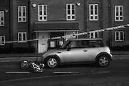On our school we came across  the paperboy's bike lying on the floor after being hit by a car in Berkhamsted, England Monday, March 2, 2015  Photography and motherhood both offer lessons in loss. As a photographer, there is the loss of so many moments that you fail to capture. As a mother, there is the loss of personal space, of modesty, of identity.This project has let me see photographs where before I thought there were none. It has allowed me to see the universality of my life and how it is reflected in so many other lives.(Elizabeth Dalziel) #thesecretlifeofmothers #bringinguptheboys #dailylife