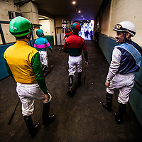 Jockeys walk through the grandstand tunnel on their way to the paddock on December 21, 2013 at Betfair Hollywood Park in Inglewood, California . The Track is set to close on December 22, 2013 after operating for 75 Years.(Alex Evers/ Eclipse Sportswire)