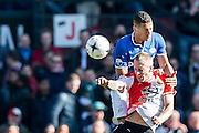 ROTTERDAM  - Feyenoord - PSV , eredivisie , voetbal , Feyenoord stadion de Kuip , seizoen 2014/2015 , 22-03-2015 , PSV speler Jeffrey Bruma (boven) en Feyenoord speler Lex Immers (onder)
