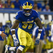 Delaware Defensive tackle AARON DONALSON (35) chases down the runner during a week one game between the Delaware Blue Hens and the Delaware State Hornets, Thursday, Sept. 01, 2016 at Tubby Raymond Field at Delaware Stadium in Newark, DE.
