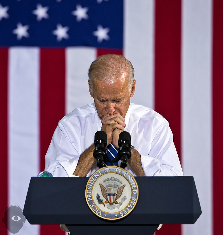 Vice President Joe Biden ponders his next words while speaking on behalf of Hillary Clinton and other Democrats at the Southwest Regional Council of Carpenters building on Saturday, Oct. 28, 2016.  L.E. Baskow