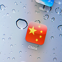 Chinese flag app icon with mail and compass logo's.