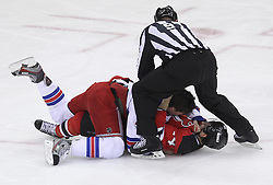 May 21, 2012; Newark, NJ, USA; New York Rangers defenseman Ryan McDonagh (27) and New Jersey Devils center Adam Henrique (14) fight during the first period in game four of the 2012 Eastern Conference Finals at the Prudential Center.
