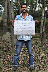 Sajad Hussein - 24 yrs.Kashmir.Muslim.Studying BA (Hons) English Literature..Urdu - 'The UN is the symbol of justice, but in reality it is far away from delivering justice. Big countries like America and Israel misuse the UN to subjagate already oppressed people.'