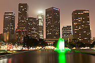 LADWP Water Fountain and Downtown Skyline at Night, Los Angeles, California