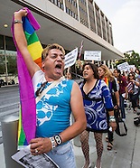 LGBT and immigrant gruops protest in Los Angeles
