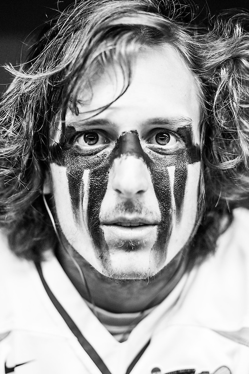 05/24/2015- Philadelphia, Penn. - Tufts defenseman Cem Kalkavan, A15, shows off his eye black in the locker room at Lincoln Financial Field before the NCAA Division III Men's Lacrosse National Championship Game on May 24, 2015. (Kelvin Ma/Tufts University)