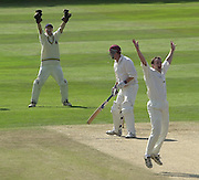 Photo Peter Spurrier.01/09/2002.Village Cricket Final - Lords.Elvaston C.C. vs Shipton-Under-Wychwood C.C..Shipton's Steve Bates survives the appeal by Elvaston wicket-keeper Lee Archer and bowler Ian hall.