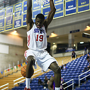 Delaware 87ers Forward Thanasis Antetokounmpo (19) hangs off the rim after dunking the ball in the first half of a NBA D-league regular season basketball game between the Delaware 87ers (76ers) and the Iowa Energy Tuesday, Jan 14, 2014 at The Bob Carpenter Sports Convocation Center, Newark, DE