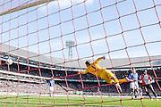 ROTTERDAM  - Feyenoord - PSV , eredivisie , voetbal , Feyenoord stadion de Kuip , seizoen 2014/2015 , 22-03-2015 , de 1-0 die PSV keeper Jeroen Zoet langzij moet laten gaan