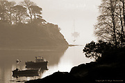 Early morning mist over the Menai Strait from the Cadnant bridge, Menai Bridge.<br /> <br /> Available as unlimited A3 &amp; A4 prints