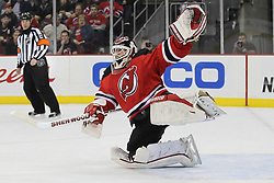 Mar 27; Newark, NJ, USA; New Jersey Devils goalie Martin Brodeur (30) makes a save during the first period of their game against the Chicago Blackhawks at the Prudential Center.