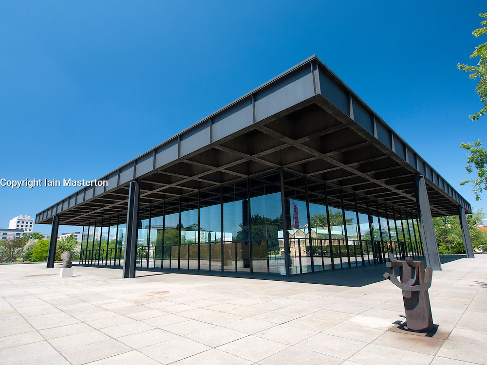 exterior of neue nationalgalerie or new national gallery modern art museum in berlin germany. Black Bedroom Furniture Sets. Home Design Ideas