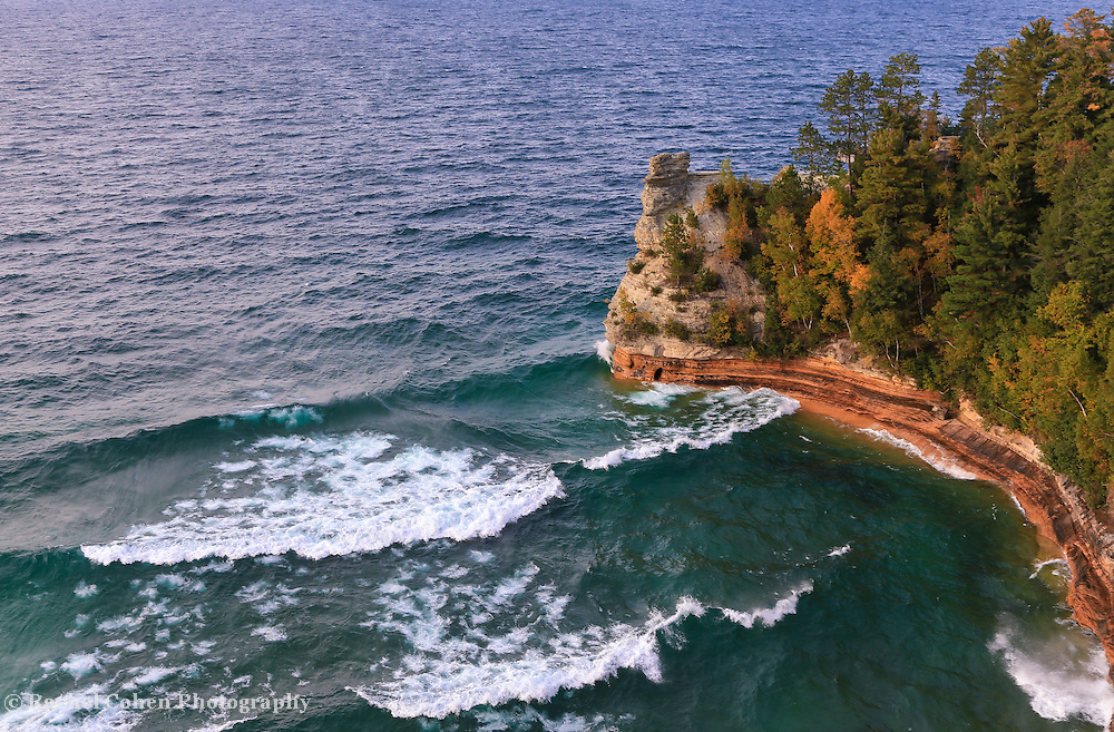 &quot;Those Waves at Miners Castle&quot;<br /> <br /> Enjoy beautiful rolling waves on Lake Superior at Miners Castle which is located in Pictured Rocks National Lake Shore. A wonderful early autumn scene!