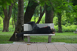 A vietnamese man takes a nap on a bench in Thong Nhat Park (Lenin park), Hanoi, Vietnam, Southeast Asia
