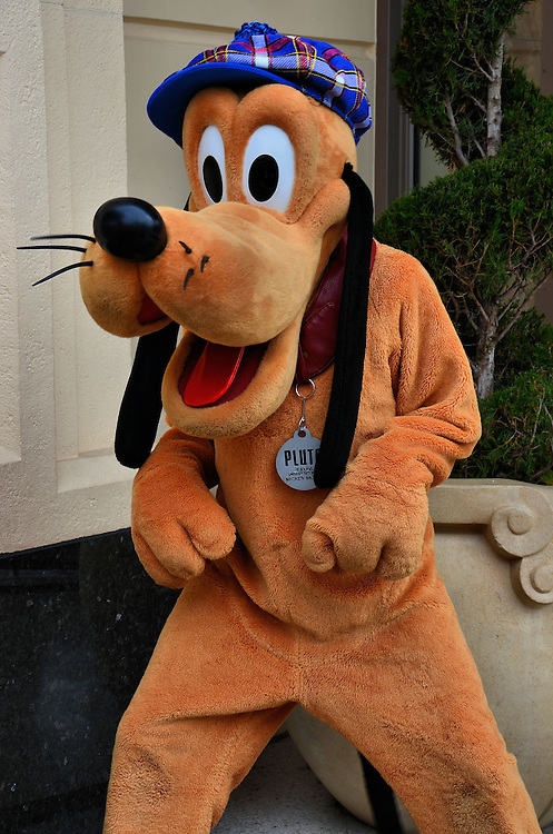 Pluto Greeting on Buena Vista Street at California Adventure in Anaheim, California<br />
