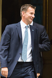 Downing Street, London, June 2nd 2015. Health Secretary Jeremy Hunt leaves 10 Downing Street following the weekly meeting of the Cabinet.