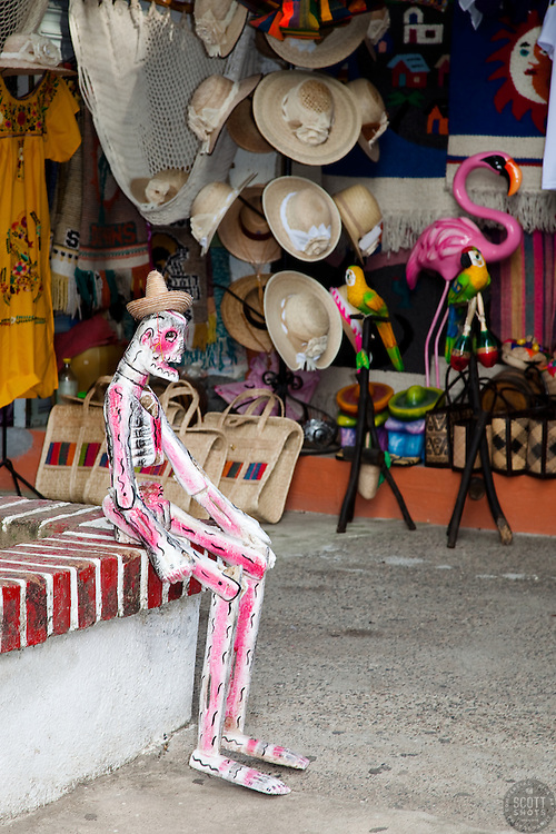 """Sitting Skeleton"" - This sitting day of the dead style skeleton was photographed in Puerto Vallarta, Mexico."