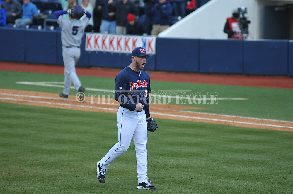 Ole Miss' Brett Huber (38) celebrates following a win vs. TCU at Oxford-University Stadium on Saturday, February 16, 2013. Ole Miss won 5-2. Huber picked up his second save of the season.