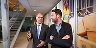 Nederland, Amersfoort, 07feb20014 Holland8 Cees 't Hart (links) CEO van Friesland Campina in gesprek met Freek Padberg (rechts) van Grapedistrict. t.b.v. FD interviews CEO en jonge ondernemer. Foto Cees Elzenga