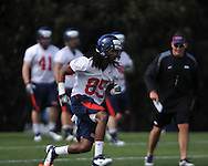 Ole Miss' Ja-Mes Logan runs as Mississippi began spring practice in Oxford, Miss. on Friday, March 23, 2012. (AP Photo/Oxford Eagle, Bruce Newman)