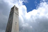 Belltower under cloudy skies.