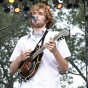 Nickel Creek featuring Chris Thile (mandolin), Sara Watkins (fiddle), and her brother Sean Watkins (guitar) performs at The 2003 Bonnaroo Arts and Music Festival..Photo by Bryan Rinnert