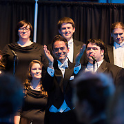 Choral Director Timothy Westerhaus and the Gonzaga Chamber Singers leads everyone in the singing of &quot;Happy Birthday Gonzaga.&quot;<br />